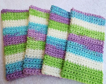 Crochet Wash Cloths Crochet Dish Cloths 100% Cotton Handmade Washrag Set of 4 Kitchen Dishcloths Crocheted Dish Cloths Hostess gift