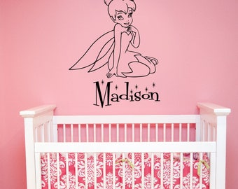 Personalized Tinker Bell Wall Sticker Disney Girl Custom Name Vinyl Decal Fantasy Fairy Art Decorations for Home Peter Pan Nursery Decor tb4