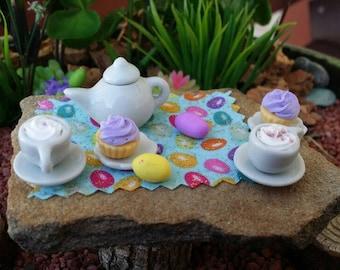 Fairy garden Easter tea set, dollhouse Easter eggs, miniature egg hunt, Fairy Easter, dollhouse Easter, barbie easter, miniature easter set