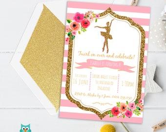 Ballet Birthday Invitation, Ballerina invitation, Printable invitation, Ballerina Party, Ballet Party Pink Dance invite