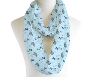 Blue Rabbit Cute Bunny Lightweight Infinity Scarf Fashion Loop Chiffon Jersey