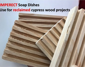 Ten (10) Imperfect Cypress Wooden Soap Dishes. Not salable to end users. Use only for reclaimed wood projects.