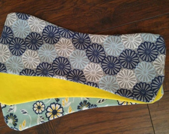 Blue and yellow floral burp cloths