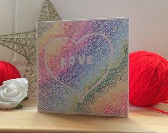 Rainbow Heart Card ,  Abstract Card, Hand Drawn Card, Greetings Card,  Note Card