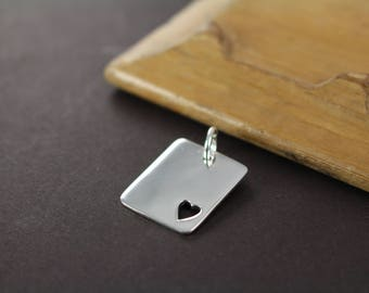 Sterling Silver Cutout Heart Dogtag 19 x 15mm , Metal Stamping Blanks Discs Pendants Rectangle - Jewelry Supplies Wholesale