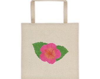 Tropical Hibiscus Print - Tote bag