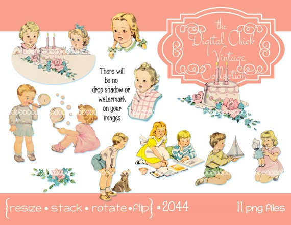Digital Clipart instant download Vintage Birthday Cake