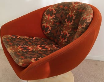 Vintage Swivel Pod Bucket Armchair   Swedish Overman  Mid Century Retro  Chair   Orange   Original 1970u0027s