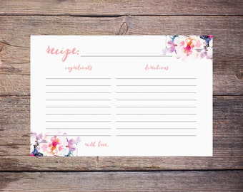 Recipe Cards to Print at Home - Pink Floral Watercolor Bridal Shower Recipe Cards - Flowers - Printable - DIY Digital File - Jessica
