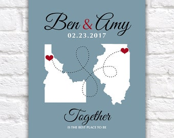 Long Distance Relationship Maps, Love, Hearts  - Custom Wedding Gifts, Engagement, Anniversary, Names, Deployment, Couple | WF266