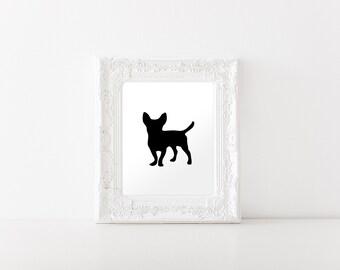 Chihuahua Art Print - Chihuahua Silhouette Print- INSTANT DIGITAL DOWNLOAD