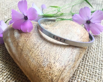 Hand Stamped Bracelet - Cuff - Stacking Cuff - Anniversary Present - Gift For Her - Jewellery - Love - Bangle - Personalised - Inspirational