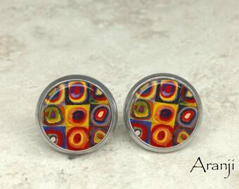 Kandinsky fine art earrings, Kandinsky stud earrings, Kandinsky earrings, fine art earrings, AR134E