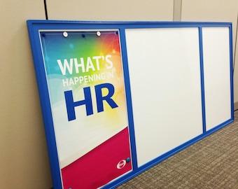 Executive Dry Erase Magnet Board - HUGE Office Modern Magnetic Whiteboard - Corporate Branding Bulletin Board 36x72 inch Hardwood Frame blue