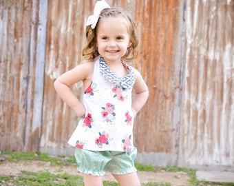 Toddler Outfits - Baby Girl Bloomers - Baby Girl Halter Top - Boutique Outfit - Toddler Girl Bloomers - Girl Halter Top - Girls Floral Top