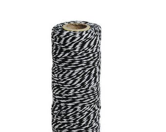 Roll of 90 m thick black twine Baker - two-tone baker's twine, black and white Twine