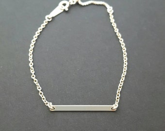 Sterling silver bracelet with sterling bar and adjustable clasp - sliding clasp