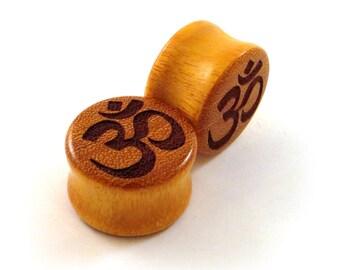 """Om Symbol Osage Orange Wooden Plugs PAIR 2g (6.5mm) 0g (8mm) 00g (9mm) 000g (10mm) 7/16"""" 11mm 1/2"""" 9/16"""" 5/8"""" 3/4"""" 7/8"""" 1"""" + Wood Ear Gauges"""