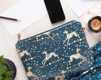 Whippet Oilcloth Large Zipped Pouch by Susie Faulks/ clutch purse / travel wallet / clutch /make up purse/ organiser/ travel wallet/ whippet