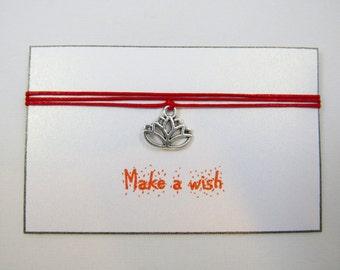 Lotus charm Bracelet, Yoga Bracelet, Wish Bracelet, Lotus Charm Bracelet, Friendship Bracelet, Lotus Jewelry, Yoga Wish, Zen Bracelet, BFF