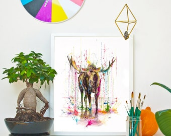 MOOSE - RAINING COLOURS *Limited Edition Giclée Print on Watercolour Paper - 300gsm.