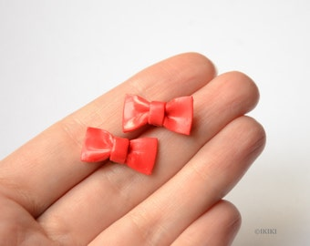 SALE Red Bow Studs, Polymer Clay Bow Stud Earrings, Red Bow Earrings, Bow Post Earrings,Red Bow Jewelry, Mini Bows, Red Bows, Cute Bow Studs