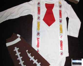 KANSAS CITY CHIEFS inspired football outfit for baby boy - tie bodysuit with suspenders, crochet hat, leg warmers