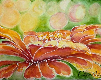 Orange Zinnia Original Watercolor 9x12  summer painting