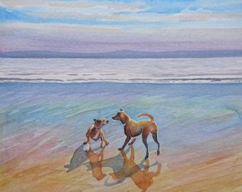 Watercolour painting of two dogs playing on a beach