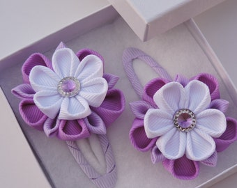 Kanzashi fabric flowers. Snap clips.Purple.Set of 2 hair clips.