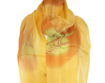 SummerSilk Scarfs/Indian Silk Scarf/YellowGolden Scarfs/Abstract Pattern/Scarves &Wraps/Neckerchief/Spring Scarves/Gift For Her/Rebozo/Cloak