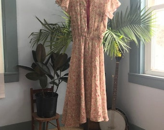Prairie Fairy Lace Collar Rose Dress