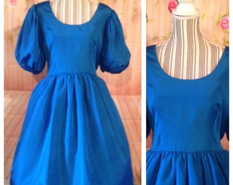 Vintage Kappi Royal Blue Puffy Sleeved Dress