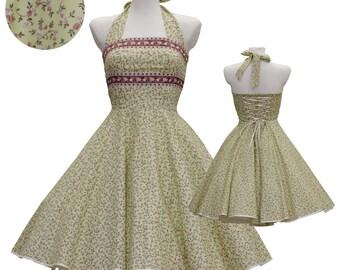 50's vintage dress full skirt french provence yellow green jaquard embellishment design custom made Retro