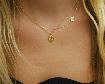 Tiny necklace etsy gold disc necklace aloadofball Image collections
