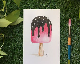 Popsicle, watercolor, illustration made by hand, 9 x 6 paper 300g