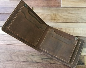 Leather Wallet, Minimalist Billfold Wallet, Distressed Leather Wallet, Minimalist Classic Billfold , Groomsmen Gifts, Can be Personalized