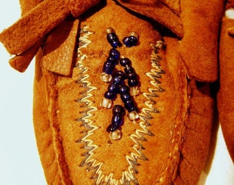 Vintage Baby Moccasins, Handmade, Soft Suede, Hand Beaded, Fringe, Native American Indian, Blue Seed beads, Papoose, Leather, Brown