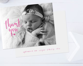 Newborn Baby Thank You Cards, Twins, Photo Thank You Cards, Baby Shower Thank You Cards // Boy or Girl // Flat  // Set of 25