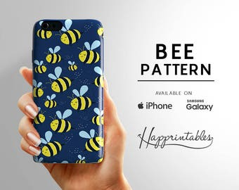 Phone case Bee Pattern for iPhone 7, iPhone SE, iPhone 7/6 Plus, iPhone 6/6S, iPhone 5/5S, iPhone 5C, Samsung Galaxy S5, S6 Edge phone case