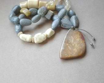 Sand Stone and Blue Tridacna Shell Beads. Boho Coral Necklace.  Ivory Coral Necklace. Boho Style Statement Necklace