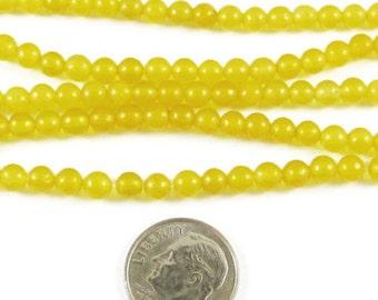 "15"" Round Gemstone Beads-Golden Yellow CANDY JADE 4mm (95 beads)"
