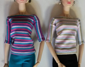 Fashion Royalty or Barbie. .  Little Stripes Boatneck 1/2 Sleeves Top. 2 Colours to Choose