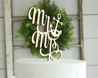 Mr and Mrs Anchor Cake Topper Wedding Cake Topper Nautical Wedding