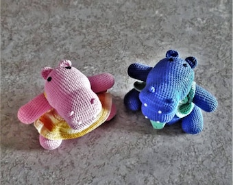 Bonnie's Crochet Cotton Thread Item Blue Boy Hippo with Tie And Vest Photo seen Together But Sold Separately