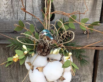 Cotton Ball Ornament with Bird
