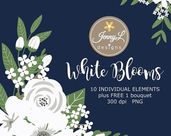 50% OFF White Flower Element Clipart, Wedding Flowers, Floral for digital Scrapbooking, Wedding, Invitations