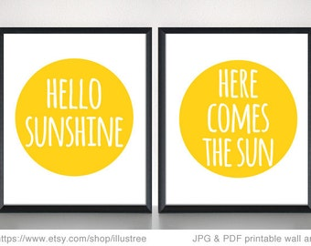 Hello sunshine, digital art print set of two prints, printable wall art, here comes the sun, 8x10, 11x14, 16x20 art print, instant download