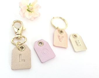 Personalized leather tag.Personalised initial tag.Monogram.Initial gift tag.Gift leather tag.3rd Anniversary Gift.For Her.Add on initial.