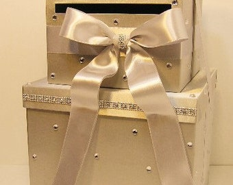 Wedding Card Box LARGE Size 2 Tier Silver Gift Card Box Money Box  Holder--Customize your color (LARGE SIZE)
